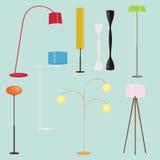 Samling för golvlampor Uppsättning av stående lampor Plan stilvektorillustration vektor illustrationer