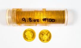Samling för guld- mynt Royaltyfri Fotografi