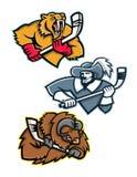 Samling för ishockeysportmaskot stock illustrationer