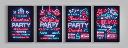Samling för julparti av inbjudanmallar, broschyrer, affischer Glad jul, uppsättning av feriekort i neon stock illustrationer