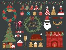 Samling för julparti, lycklig ferie vektor illustrationer