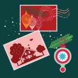 Samling för julstolpeelement Arkivfoto