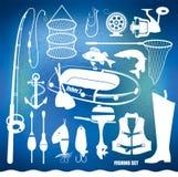 Samling för kontur för utrustning för fisketur som isoleras på vit bakgrund Fotografering för Bildbyråer