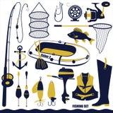 Samling för kontur för utrustning för fisketur som isoleras på vit bakgrund Royaltyfri Foto
