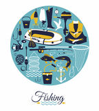 Samling för kontur för utrustning för fisketur som isoleras på vit bakgrund Arkivfoton