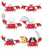 Samling för krabbatecknad filmtecken - 3 vektor illustrationer