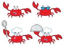 Samling för krabbatecknad filmtecken - 1 stock illustrationer
