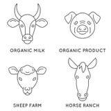Samling för logo för lantgårddjur Arkivfoto