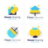 Samling för logo för vektorhuslokalvård Rengörande tjänste- symboluppsättning Royaltyfri Bild