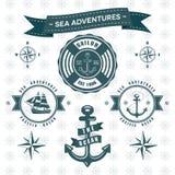 Samling för logo för skepp för hav- och havsankare themed stock illustrationer