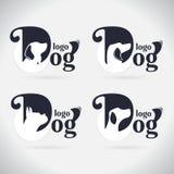 Samling för logohundlogo angus stilsort symbol också vektor för coreldrawillustration På vitbakgrund vektor illustrationer