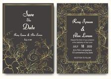 Samling för mall för bröllopinbjudankort blom- royaltyfri illustrationer