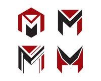 Samling för mall för techno för M-bokstavslogo Arkivfoto