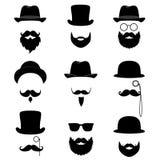 Samling för man` s Mustasch, exponeringsglas, skägg, rör och bästa hatt royaltyfri illustrationer