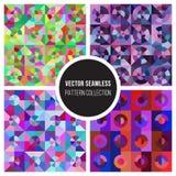 Samling för modell för sömlös färg för vektor geometrisk Arkivfoto