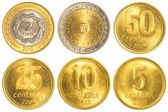 samling för mynt för argentine peso cirkulerande Arkivbilder