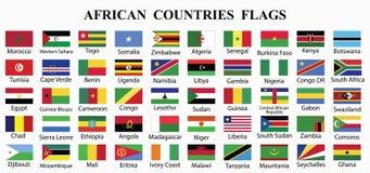 Samling för PrintAfrica landsflaggor royaltyfri illustrationer