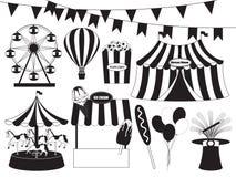 Samling för rolig mässa och cirkus Arkivfoton