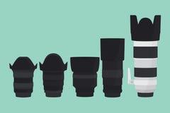 Samling för slr för kameralins med plan stil Arkivbild