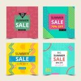 Samling för sommarkort med Memphis Style färgrik bakgrund Vara kan bruk för hälsa och inbjudankortet, reklambladet, affischen, ba vektor illustrationer
