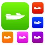 Samling för sportpowerboatuppsättning stock illustrationer