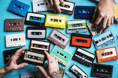 Samling för stil för tappning för kassettband Arkivfoton