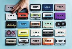 Samling för stil för tappning för kassettband Arkivfoto