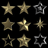 samling för stjärnor 3D på svarten BG royaltyfri illustrationer