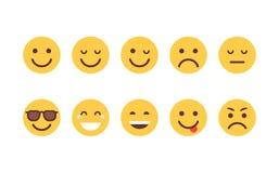 Samling för symbol för sinnesrörelse för gult Emoji för tecknad filmframsidauppsättning folk olik royaltyfri illustrationer