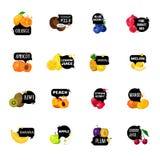 Samling för symboler för etiketter för nya frukter Polygonal royaltyfri illustrationer