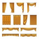 Samling för symboler för guld- gardingardin realistisk royaltyfri illustrationer