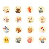 Samling för symboler för huvud för lantgårddjur rund Royaltyfria Foton