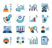 Samling för symboler för lägenhet för dataanalys royaltyfri illustrationer