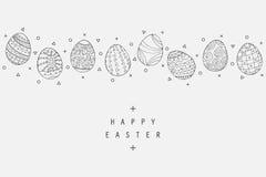 Samling för symboler för påskägg i klotterstil tecknad hand Royaltyfri Fotografi