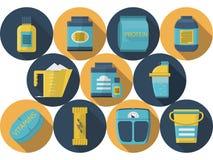 Samling för symboler för sportnäringlägenhet vektor illustrationer