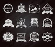 Samling för symboler för svart tavlaförsäljningsetiketter Arkivbild