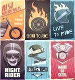 Samling för tappningcyklistaffischer royaltyfri illustrationer