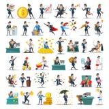 Samling för tecken för affärsfolk Tecknad filmaffärsmannen i olikt poserar Motivation ledarskap, karriär stock illustrationer