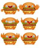 Samling för tecken för hamburgareemoticontecknad film stock illustrationer