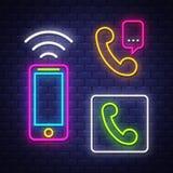 Samling f?r tecken f?r telefonkommunikationsneon vektor illustrationer