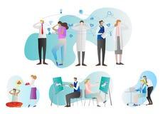 Samling för telepativektorillustration Folket grupperar med exempel av paranormal aktivitet för hjärnan Kommunikation med tankar vektor illustrationer