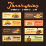 Samling för Turkiet tacksägelsebaner med prydnaden och Foods vektor illustrationer
