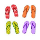 Samling för uppsättning för Flip Flops Icon Summer Slippers fotkläder royaltyfri illustrationer