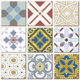 Samling 039 för uppsättning för modell för keramisk tegelplatta för tappning retro royaltyfri illustrationer