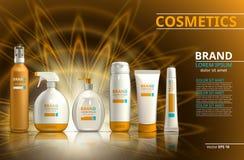 Samling för uppsättning för produkt för solskydd realistisk Kosmetiska flaskor med logoetiketten planlägger på en mousserande bak stock illustrationer