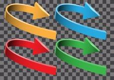 Samling för uppsättning för riktning för kurva för pilfärg 3D på rutig bakgrundsvektor royaltyfri illustrationer