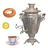 Samling för vattenfärgtetid Samovar porslinkopp te, b Royaltyfri Foto