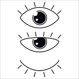 Samling för vektor för ögonsymbolsuppsättning Se och visionsymboler Royaltyfria Bilder