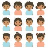 Samling för vektor för Avatar för kropp för gulliga afrikansk amerikanbarn halv vektor illustrationer