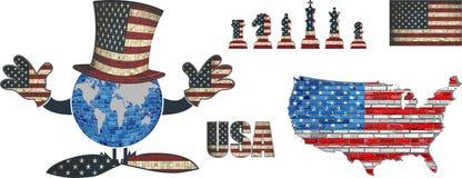 Samling för vektor för USA flaggabeståndsdelar Arkivbilder